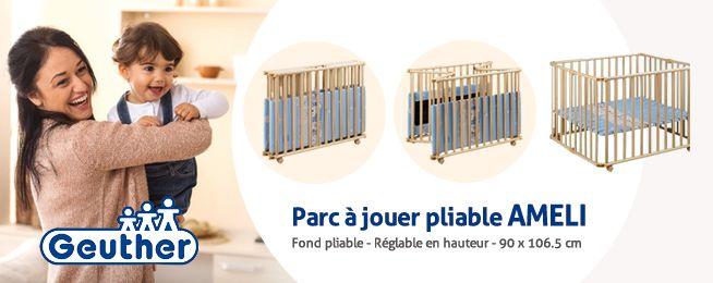 Le parc à jouet Améli de Geuther est pliable et très pratique ! Vous pouvez le déplacer facilement grâce à ces roulettes.