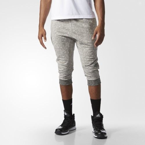 adidas Men's Basketball Cross Up 3/4 Pants, Chalk White/Medium Solid Grey, XX-Large