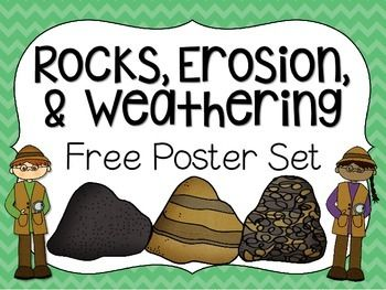 Enjoy this FREE poster set! Use it to help your students remember key information about the types of rocks, erosion, & weathering