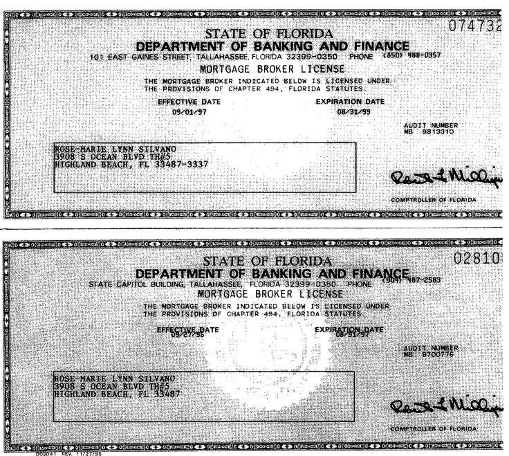 RoseMarie LaCoursiere, Mortgage Broker License (1996