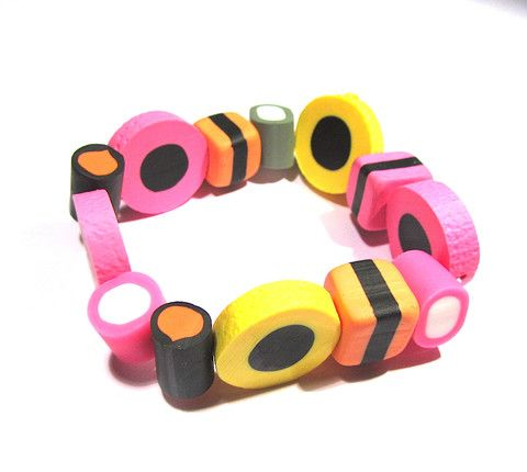 Allsorts Style Liquorice Sweets Bracelet. Hungry? This is enough to make anyone peckish!  Lovely liquorice sweets style stretchy bracelet, made from polymer clay on an elasticated band. Sweet (even if you are sweet enough!)  #jewellery #bracelet #sweets #sweetie #liquorice #clay #quirky
