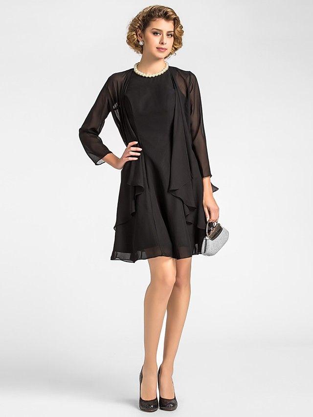 A-line Plus Sizes / Petite Mother of the Bride Dress - Black Knee-length 3/4 Length Sleeve Chiffon - USD $ 89.99