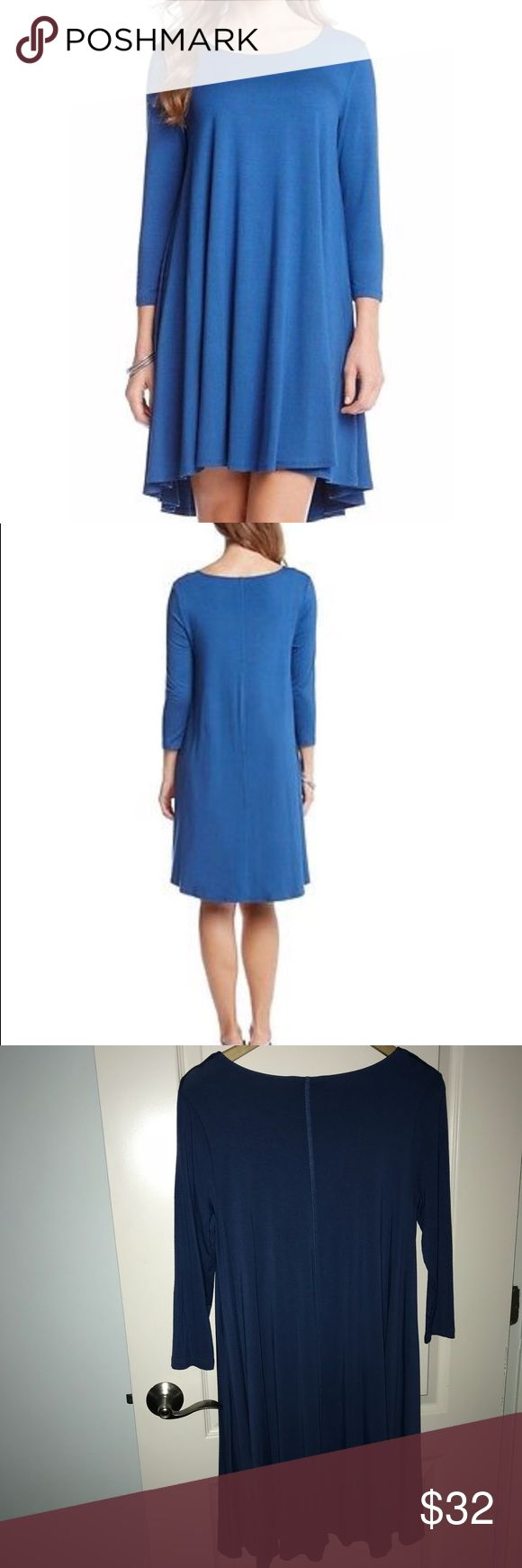 Karen Kane Dress Blue Karen Kane Marine Blue Trapeze Dress swing fit for all around comfort Jersey knit Size S euc Karen Kane Dresses