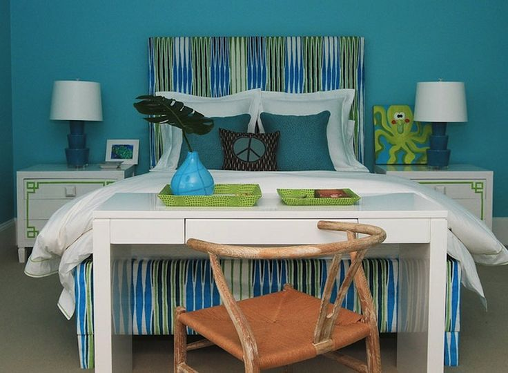 andrew howard interior design turquoise girls bedroom with turquoise blue walls and green accents - Girls Bedroom Color