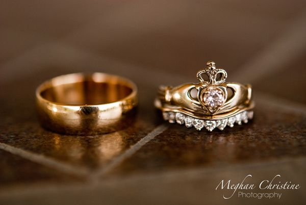 Claddagh Ring Wedding Set - I'm not Irish, but I think this is a cute way to use your claddagh ring as a wedding ring set