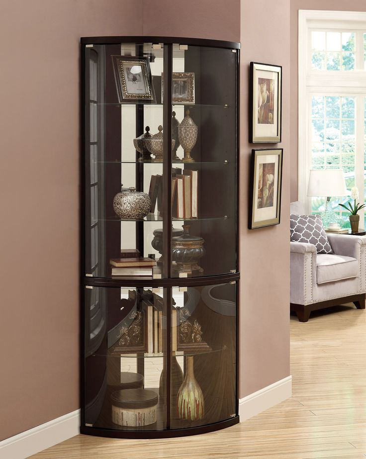 36 best images about collections display curio cabinets - Glass corner shelf for living room ...