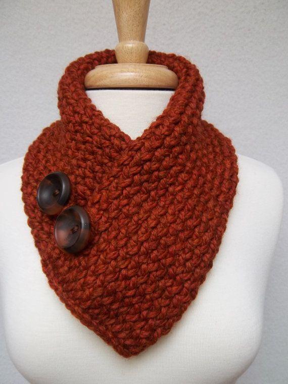 Scarf Knitted Rust Burnt Orange Cowl Buttoned Neck Warmer Scarflette Ski Scarf