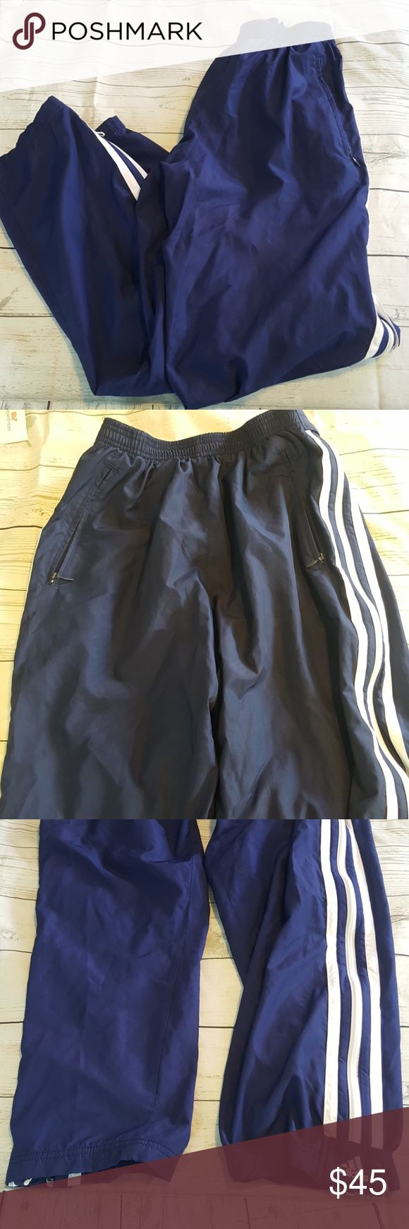 Adidas Warm Up Pants Windbreaker Striped Zip Up M Adidas Warm Up Pants Windbreaker Striped Zip Up M  Elastic waist  Lined Pockets Zippers on both legs to take pants off  All reasonable offers accepted no trades   1027 e25 1 Pants