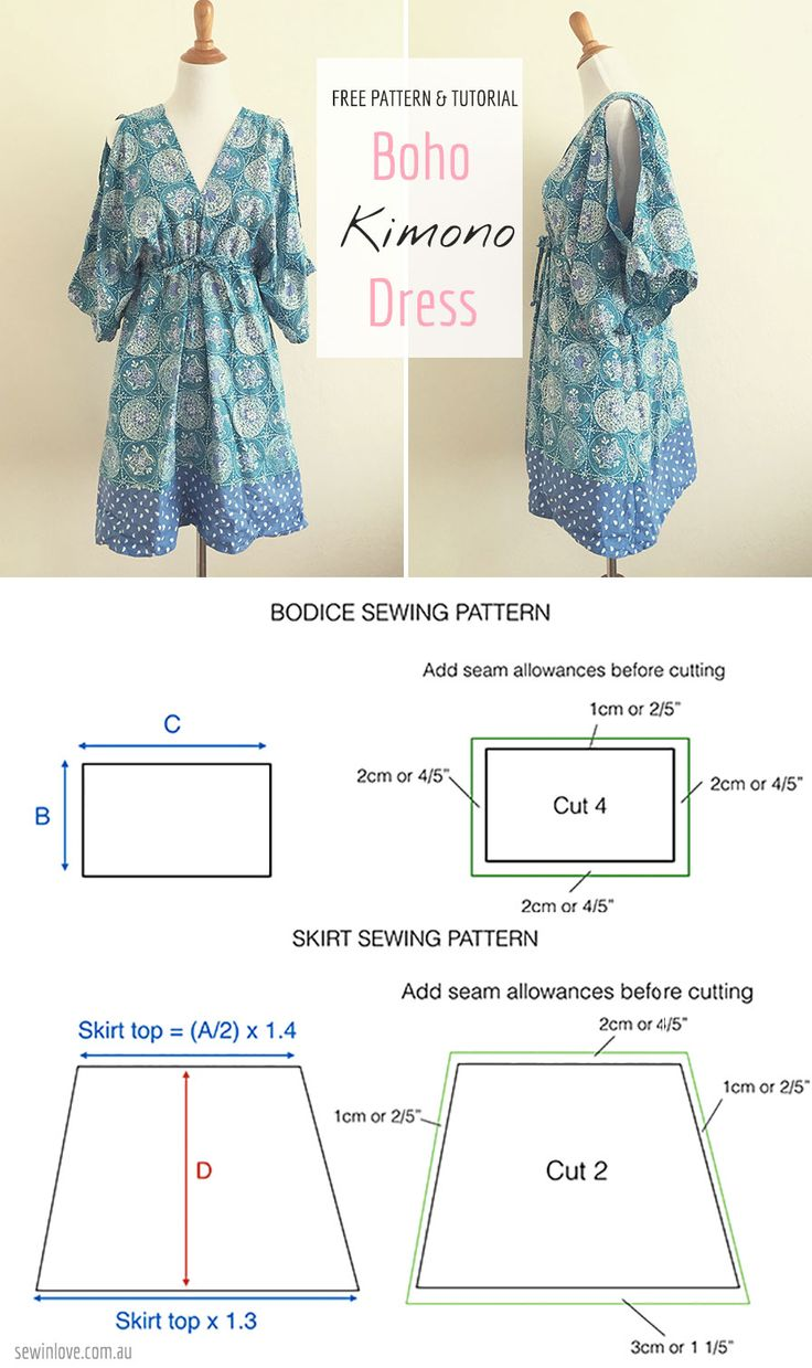 Easy Free Sewing Pattern: Make this boho kimono summer dress! Rayon or other lightweight fabric with drape is recommended :) Tutorial at www.sewinlove.com.au