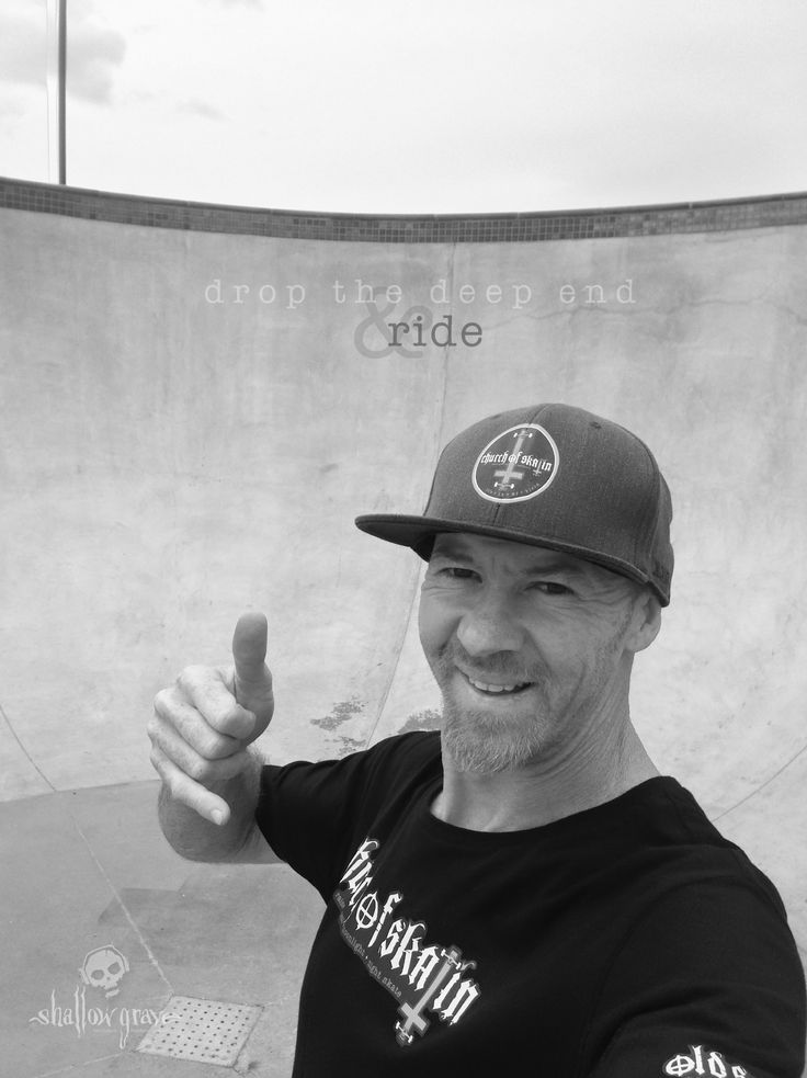 Drop the deep end & ride... here's a reality injection of the 'depth' of our new bowl. I took this selfie at ground zero today SkullyBloodrider. Rosny SK8Park Wednesday 23.3.2016.