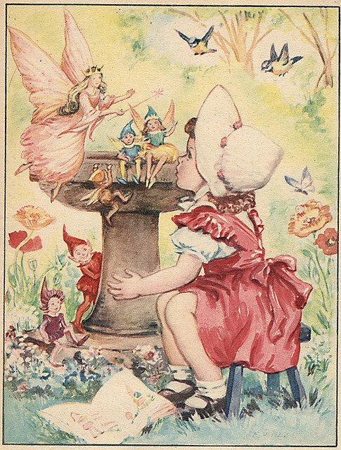 child with magical folk at bird bath from The ABC Book - Fairy Queen Undated, cloth spine...
