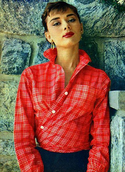 Audrey Hepburn wearing shirt in a new way