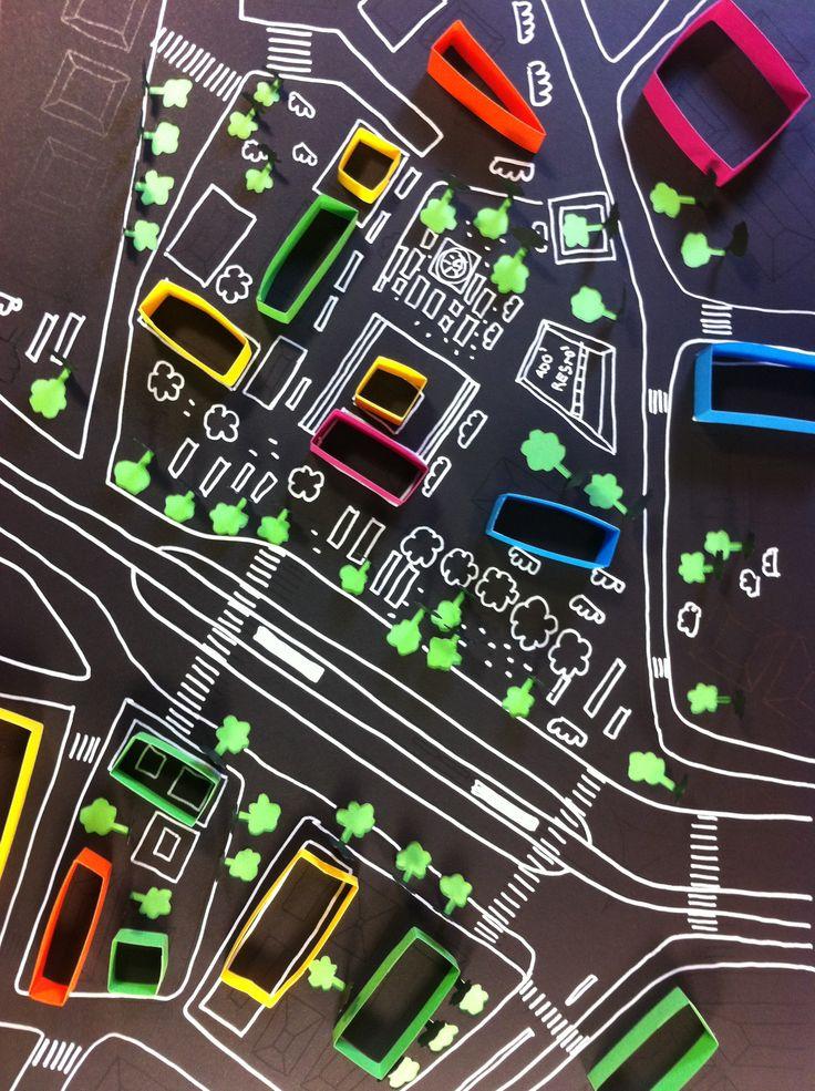 Plan de ville, dessin, papier