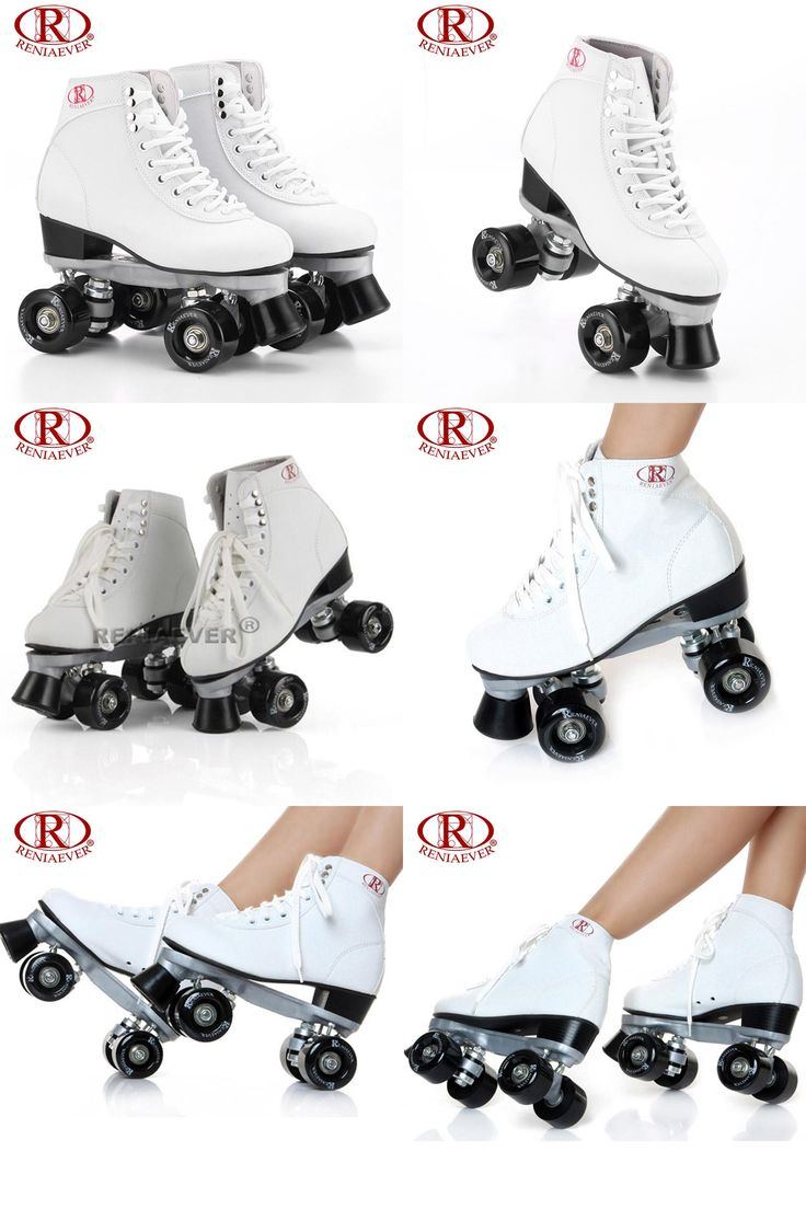 [Visit to Buy] RENIAEVER Roller Skates Double Line Skates White Women Female Lady Adult Black PU 4 Wheels Two line Skating Shoes Patines #Advertisement