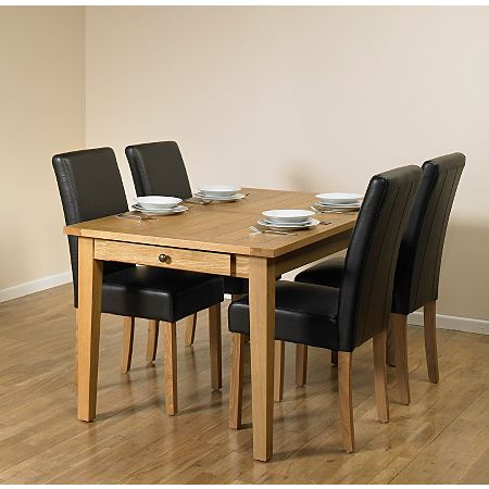 Beaumaris Light Oak Large Extending Dining Table And 4 Chairs