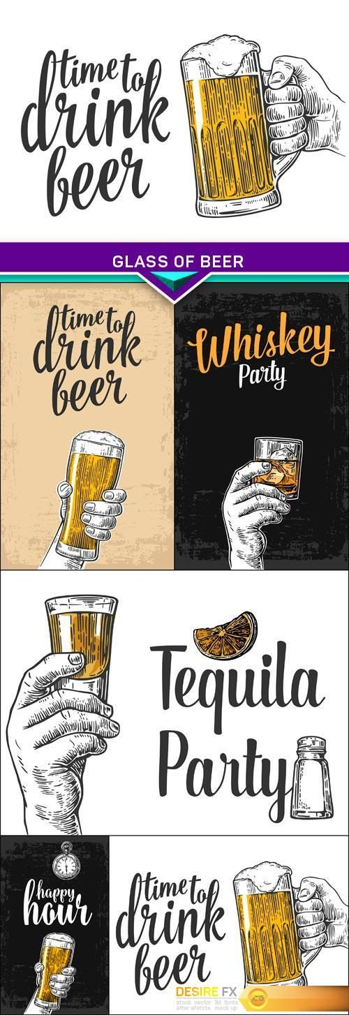 Find your Grapfix Desire With US http://www.desirefx.me/vintage-vector-engraving-glass-of-beer-5x-eps/