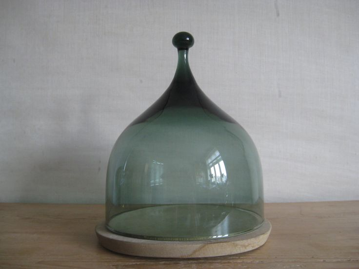 Hadeland Norway - cheese dome - smoked green glass - wood - Benny Motzfeldt - 1960s -.