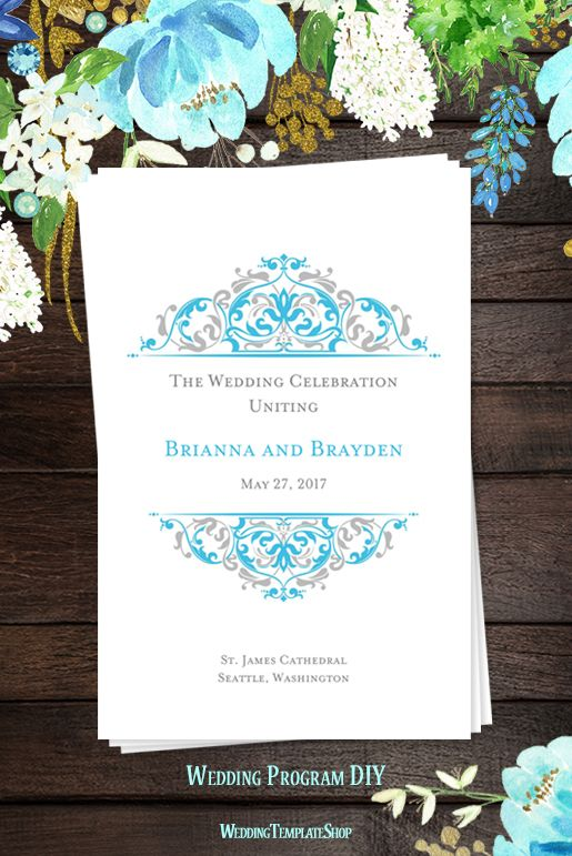Malibu Blue & Silver Wedding Programs, DIY Printable Order of Service, Grace Design Series.