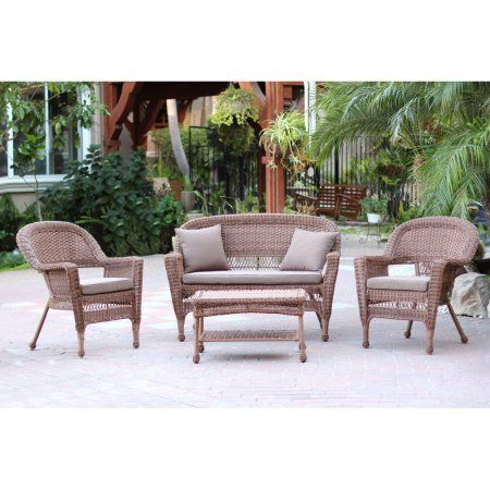 Jeco 4pc Honey Wicker Conversation Set - Brown Cushions