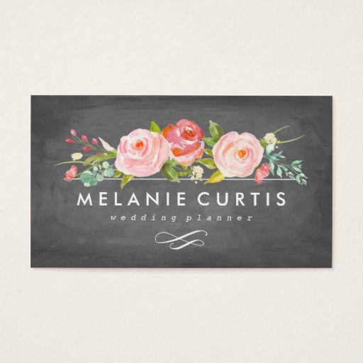 shop rose garden floral chalkboard business card created by nbpaperco personalize it with photos text or purchase as is