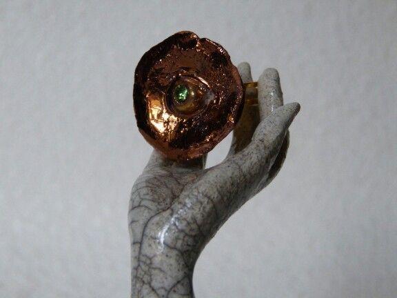 Ceramics luster, copper, ring