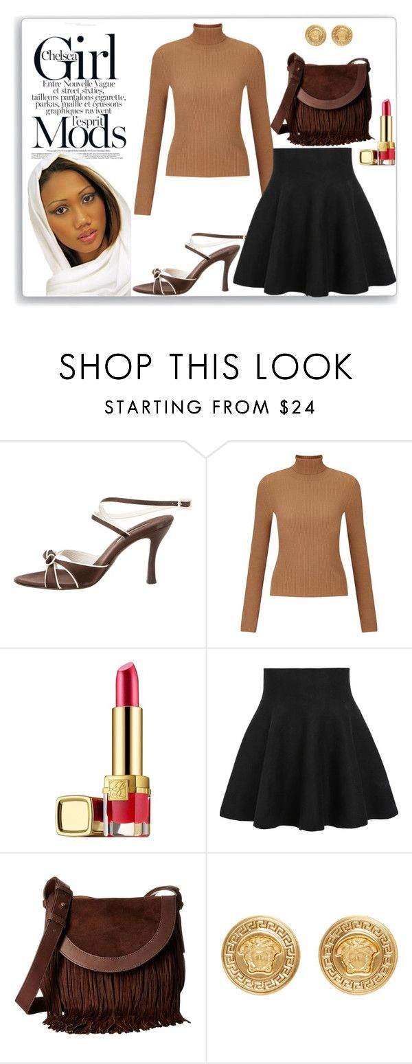 """""""Brown and Black: The truth is gone! #2"""" by nefertiti1373 ❤ liked on Polyvore featuring Oscar de la Renta, Miss Selfridge, Estée Lauder, Frye and Versace"""