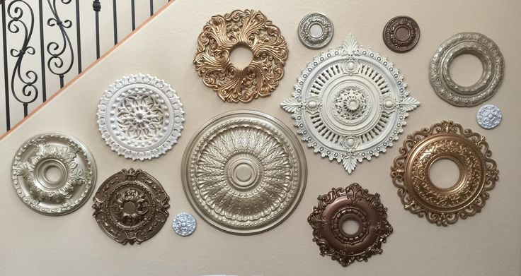 Ceiling Medallions look best as metallic wall art, Dont you think?