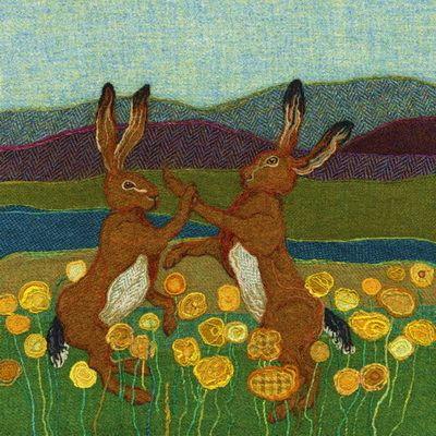 """Fighting Hares"" - Harris Tweed needle felted paintings, giclee prints & greetings cards by Jane Jackson. www.brightseedtextiles.com"