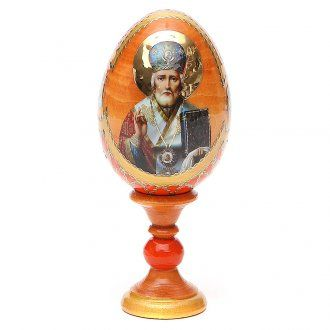 Russian Egg St. Nicholas Fabergè style, orange background 13cm | online sales on…