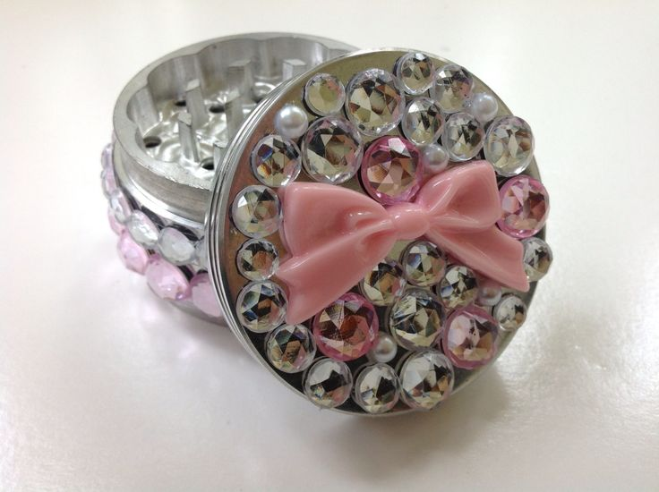 Pretty Pink Jeweled Herb Grinder by SmokingGirlCouture on Etsy, $44.00