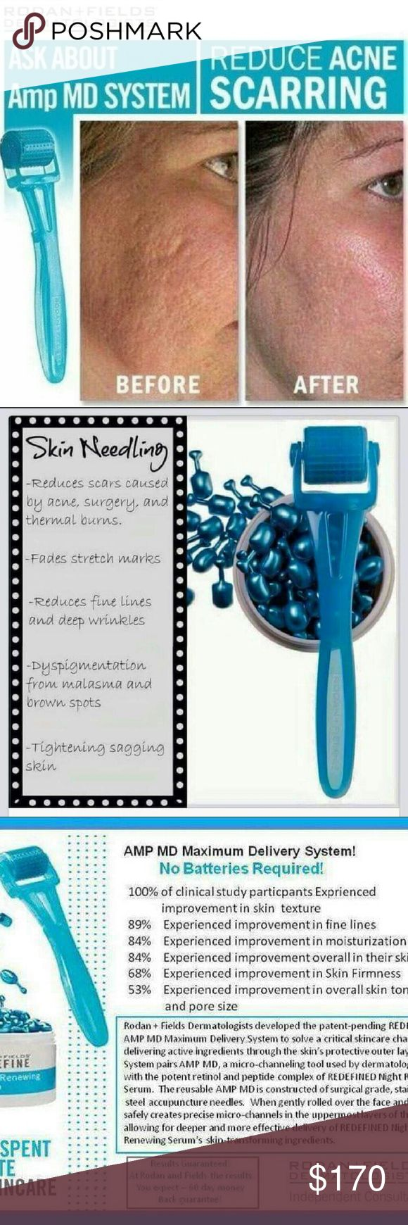 Rodan and fields skincare This microneedle takes away multiple skin issues!  This roller last for a year plus!!   Comes with cleaning tablets and container Night renewing serem And a clear case holder for protection! Comment  for more info! rodan+fields  Other