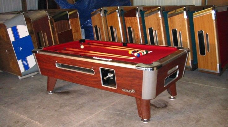 Valley Cougar Comm 7' Coin-operated Bar Size Pool Table Model Zd-4 Refurb In Red