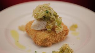 Smoked Cod with Crunchy Mash, Cabbage and Leek