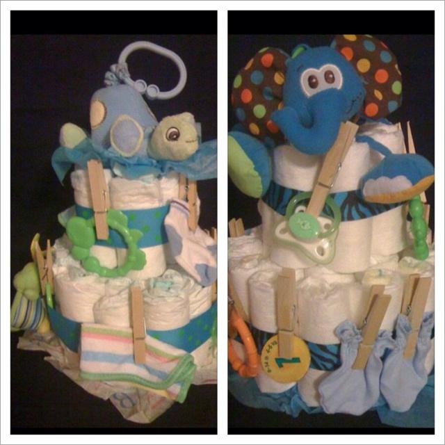 Diaper cakes - boy    I love the clothespin idea!