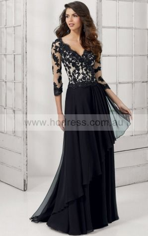 V-neck Long Sleeves A-line Zipper Floor-length Evening Dresses afaa1009--Hodress