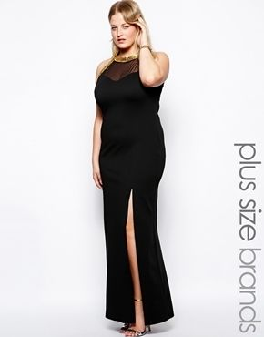 Lipstick Boutique Plus Size Lipstick Boutique Curvy Maxi Dress With Side Slit And Embellished Neck - black