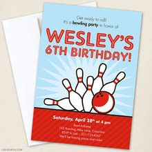 Bowling Party Invitations - Strike up some fun with this awesome bowling party theme!