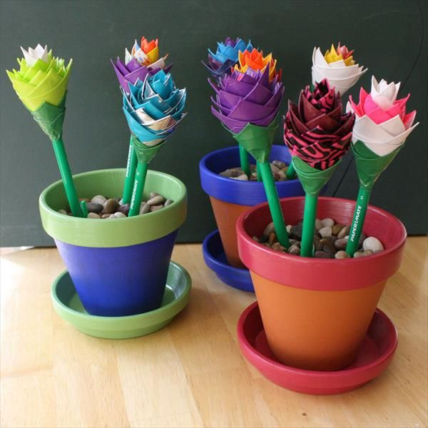 Easy DIY Duct Tape Flower Pens with Pot | 101 Duct Tape Crafts