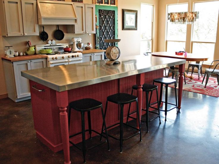 Get inspired by these upcycled, DIY and space-saving kitchen islands and carts featured on HGTV.com.