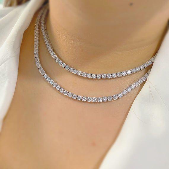 4mm Diamond Tennis Chain 14k White Gold Finish Diamond Etsy Tennis Chain Choker Chain Tennis Necklace
