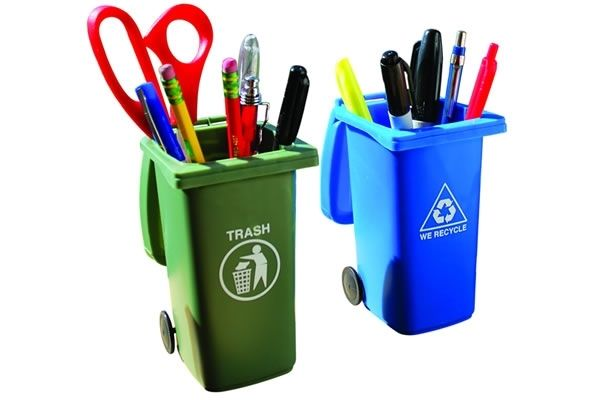 trash and recycling pencil holders
