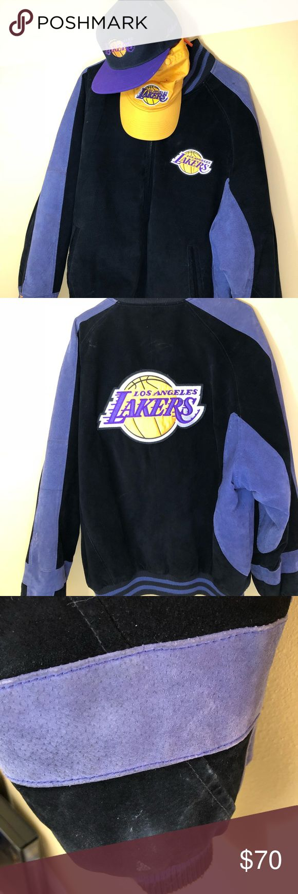 Carl Banks G-III Suede LA Lakers Jacket & 2 Hats Carl Banks G-III Suede LA Lakers Jacket & 2 Hats. Size is XL. The jacket has a few spots on it but nothing severe. NBA Carl Banks Jackets & Coats Bomber & Varsity
