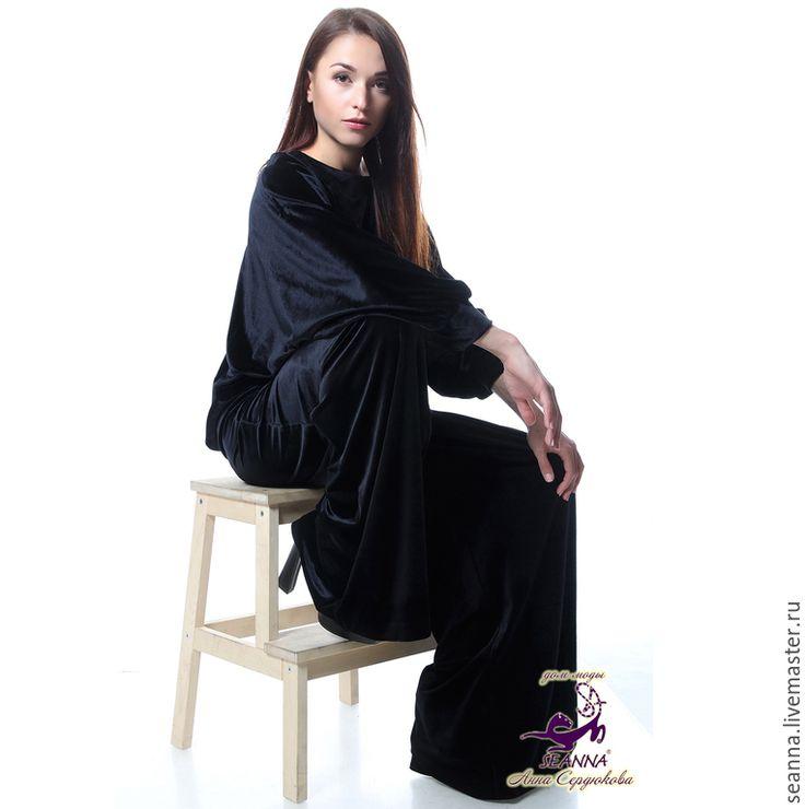 Купить Блузка из французского бархата стрейч очень удобная, скрывает животик - черный, блузка