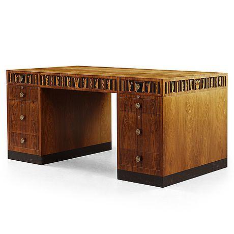 CARL MALMSTEN, skrivbord med hurtsar av palisander, Åtvidabergs Industrier ca 1934.