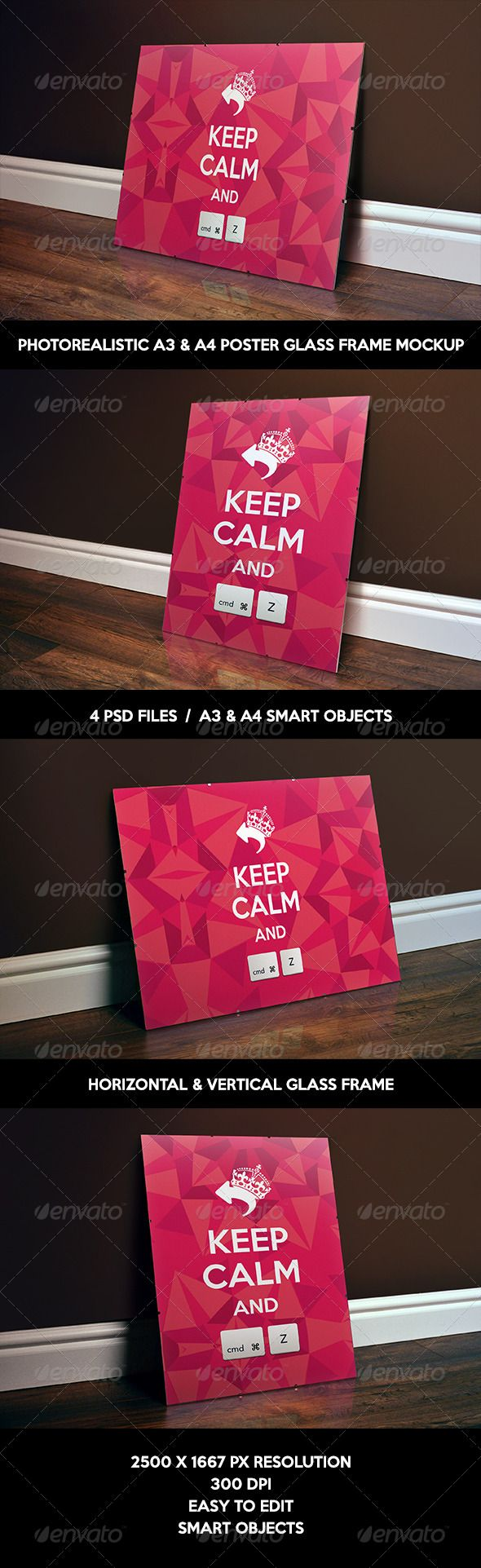 Photorealistic glass frame/clip frame/antiframe poster mockup. Perfect for presentation of your poster/flyer design.  - 4 PSD files  - A4 & A3 Smart Objects  - 300 DPI  - 2500×1667 px dimensions  - Easy to edit