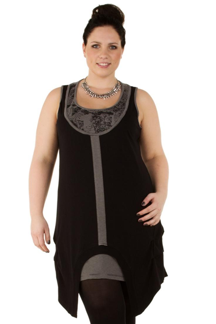 New plus size Tunic Hilko from X-two combi uni met streepje :: tunieken :: Grote maten | Bagoes mode | grote maten mode online