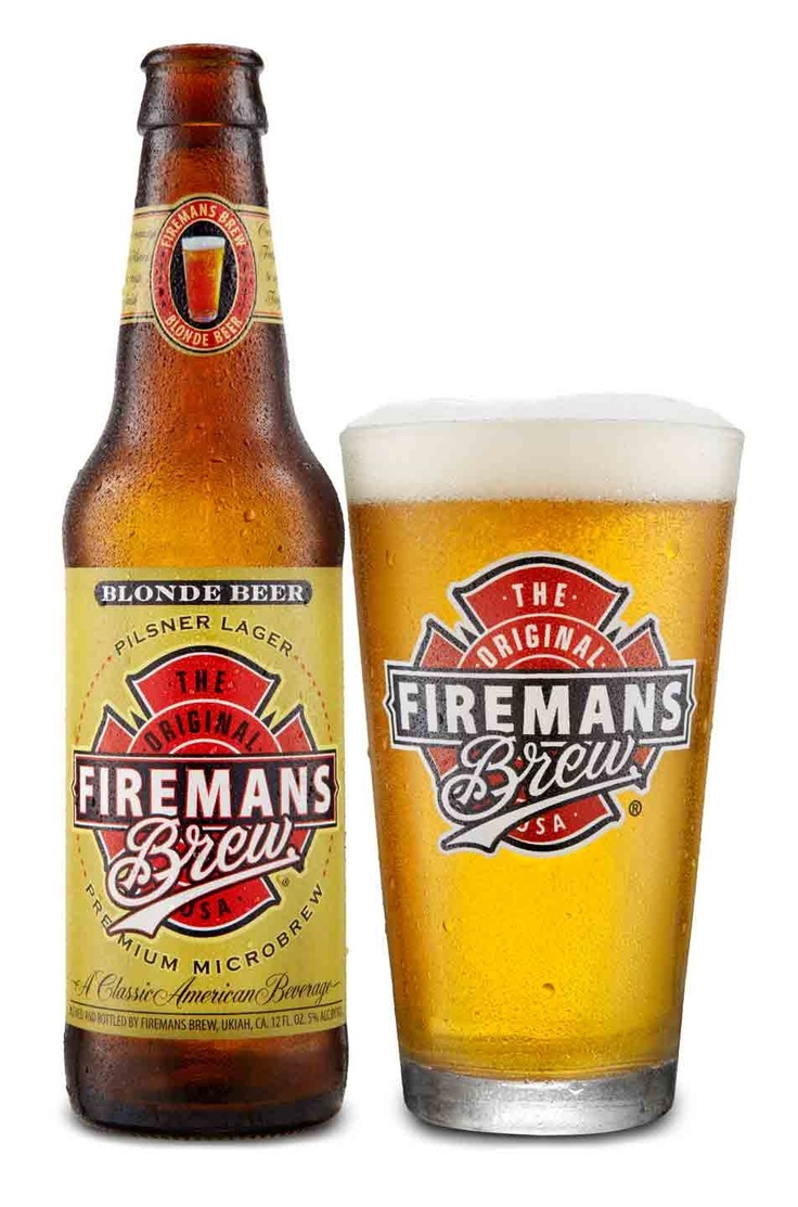 Fireman's Brew Blonde Beer bottle & logo pint glass ...