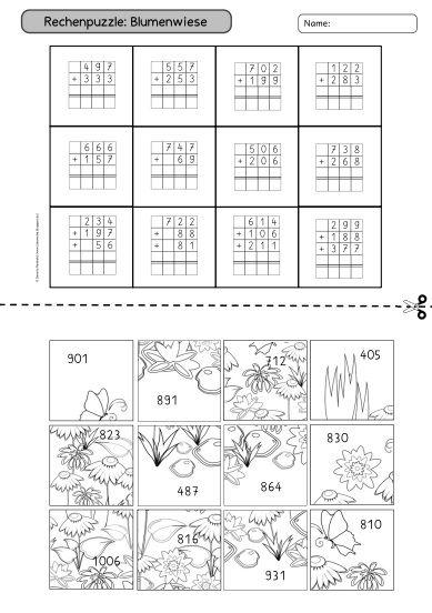 Mathe, rechnen, Zahlenraum bis 1000, Klasse 3, Lehrerblog Ideenreise: Rechenpuzzle schriftliche Addition, Puzzle, Rätsel, rechnen und ausschneiden, plus rechnen, addieren