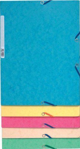Exacompta 55550E Lot de 10 Chemises Cartonnée avec 3 Rabats Fermeture par Elastique Format 24X32 Assorties Pastels: Chemise 3 rabats à…