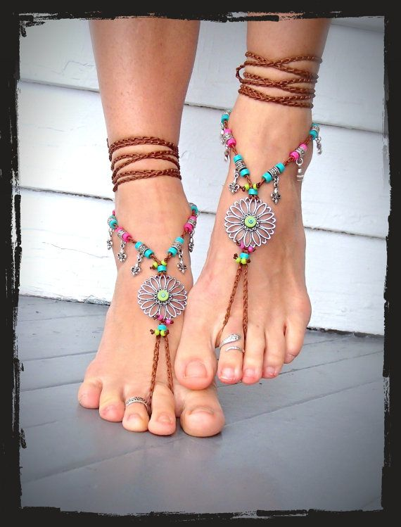 SUNFLOWER BAREFOOT Sandals Hippie FESTIVAL wrap sandal by GPyoga